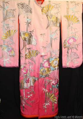 Vtg 50s/60s Uchikake Kimono Made in Japan Pink Ombre Hand Embroidered Silk