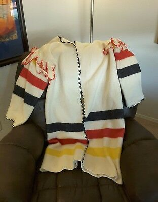 Vintage Wool Striped Hooded Blanket Coat  Womens also felting