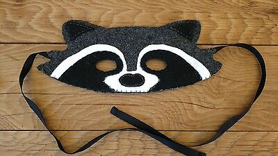 Racoon Mask Felt All Handmade And Handsewn Fits Child To Adult Halloween