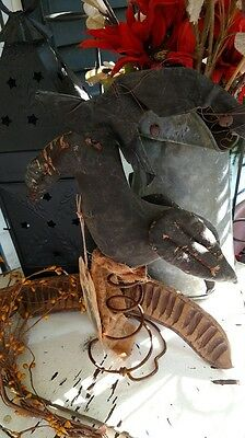 Raven Circa 1692 Make-Do Rusty Spring Witch Hat Primitive Halloween Handmade