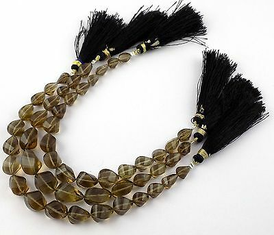 """1 Strand Natural Smoky Quartz Gemstone Twisted Drops Faceted 5x7-7x15mm 7"""" Long"""