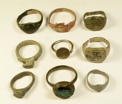 Mixed Lot Of 9 Roman / Medieval Bronze Rings - Great Artifacts