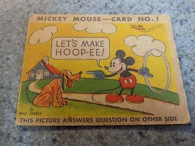 1935 Disney Mickey Mouse Bubble Gum CARD No.1 LET'S MAKE HOOP-EE TYPE 1