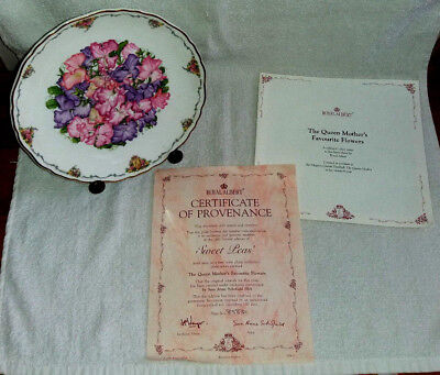 Royal Albert Collectors Plate 'Sweet Peas' by Sara Anne Schofield & Easel Stand