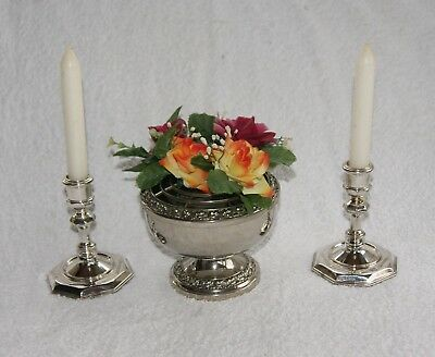 Vintage Silver Plated Ianthe Of England Rose Bowl &  Pair Of Candlesticks
