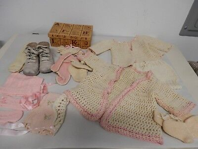 Vintage Baby Doll Hand Crocheted Clothes And More