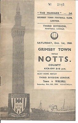 60/61 Grimsby Town v Notts County on 1st Oct 1960 in Division 3