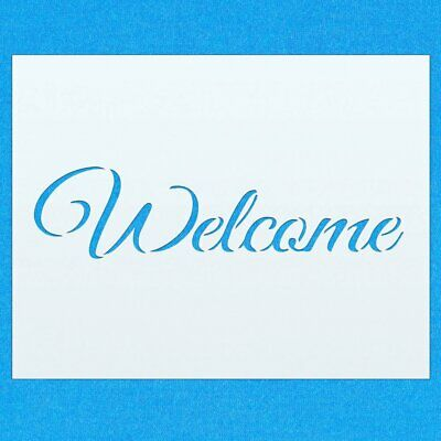 Welcome Sign Greeting Home Mylar Airbrush Painting Wall Art Crafts Stencil