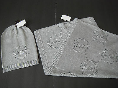 NWT MICHAEL KORS MK Silver Large Knit Infinity Scarf and Beanie Hat set $123