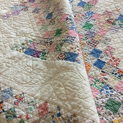 ANTIQUE vtg quilt TRIPLE IRISH CHAIN  old FEEDSACK heavily hand quilted appliqué