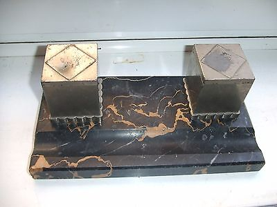 Art Deco  Inkwells On Marble Base With Original Liners