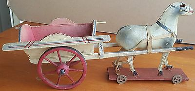 Antique German Horse Drawn Cart Wagon Pull Toy Wood & Papier Mache