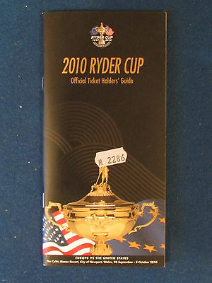 Ryder Cup 2010 - Ticket Holders Guide - Held at Celtic Manor
