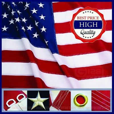 American Flag 5X8 Ft USA US Flag Deluxe Embroidered Stars Sewn Stripes