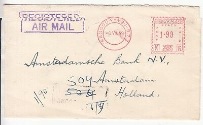 Burma: Metered Registered Airmail; National Bank of India Rangoon-Amsterdam 1959