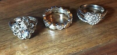 Lot of 3 Vintage Sterling Silver Size 5 Rings