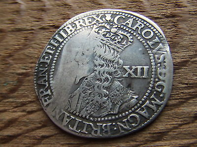 SCOTLAND.  CHARLES 1st. SILVER TWELVE SHILLINGS.  RARE.    NICE CONDITION.