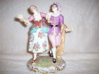 Antique Meissen Lady & Gentleman Porcelain Couple Figurine