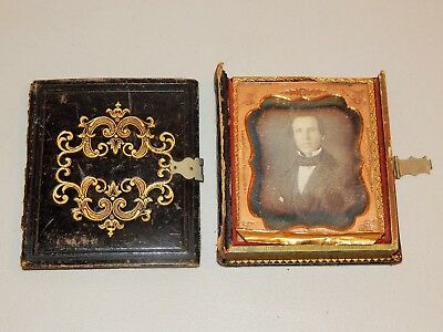 "Fantastic Daguerreotype Of Young Man, Leather ""book"" Case Cut Image On Velvet"