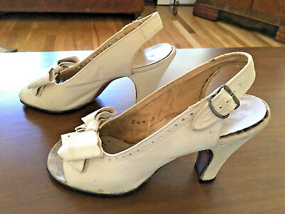 Vintage 1940s white suede peep toe heels slingback clip on bows size 6.5 - 7