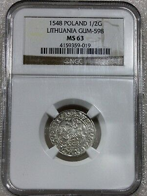 1548 Poland Silver 1/2 Gross Lithuania Ngc Ms63