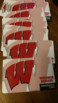 2017/2018 Wisconsin Badgers Football tickets Concession Cards.Pick what you Need
