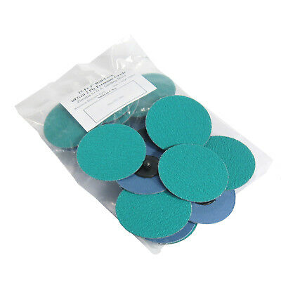 """25Pc 3"""" 60 Grit Green Zirconia Roloc Type Roll On Lock Sanding Disc Made in USA"""