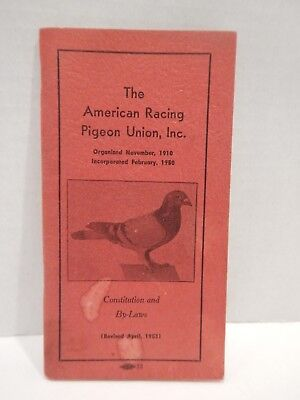 American Racing Pigeon Union Constitution  By-Laws 1953 Book Booklet