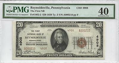 Scarce 1929 $20 Type 2 National Currency Reynoldsville Pa Charter 4908 Pmg Xf 40