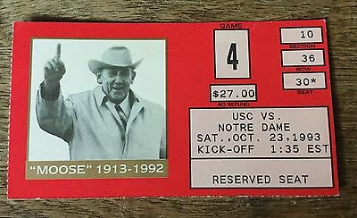 1993 10/23 USC Southern California at Notre Dame Football Ticket Stub
