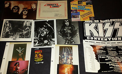 kiss:lot photos/cards/frehley's comet fan club certificate/1995 convention