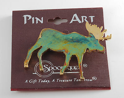 Pin Art Green Metal Moose Pin Made In Usa By Spoontiques New On Card #11129