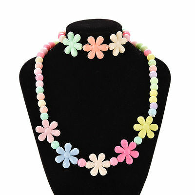 Girls Baby Toddlers Necklace&Bracelet Flower Kids Gift Party Jewelry Baby h*