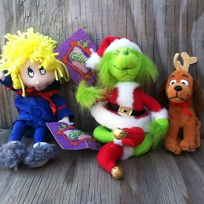 How The Grinch Stole Christmas! Grinch, Max With Clip & Cindy Lou Who Plush Toys