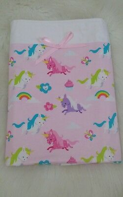 New Bassinet/cradle/pram quilt in soft baby pink - Unicorns and Rainbows
