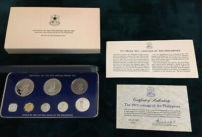 Republic of the Philippines 1975 Proof Set, Original Box Franklin Mint 8 Coins