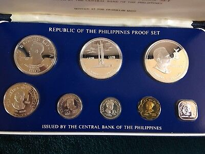 Republic of the Philippines 1978 Proof Set, Original Box Franklin Mint 8 Coins