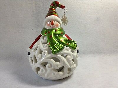 Home Reflections Luminary Snowman w/Flameless Candle and Timer
