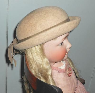 Vintage Girl's Cinderella New York Glenover Wool Hat Derby Bowler Light Brown