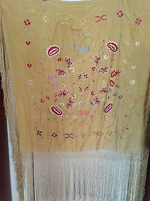 Antique 1920's embroidered silk piano scarf.