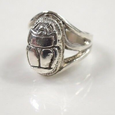 Antique Sterling Silver  Scarab Egyptian Revival Hand Made  Ring Size  7.5 13.5g