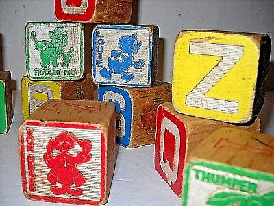 Seventeen Vintage Wood Walt Disney Character Abc Blocks With Cartoon Images