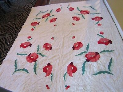 Antique Handmade Quilt White with bright flowers of Red Pink and Green