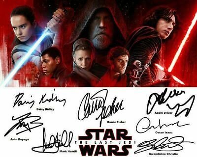 Star Wars the Last Jedi Cast Signed Photo Auto Reprint Mark Hamill Daisy Ridley