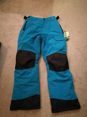 Blue Waterproof Ski Pants Trousers Salopettes Snowboard 15-16 years Kids Ladies