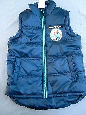 Boys warm padded navy vest with green trim Size 8   BNWT