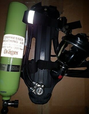drager pa90 plus complete 300bar tank full face panorama nova mask scba