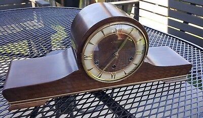 Mauthe Germany Mantle Clock Wood case in Beautiful Condition Not working