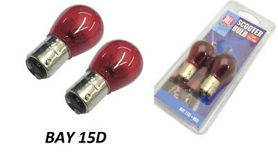 2x All Ride BAY15D Red Scooter Bulb 12V 21W/5W Motorbike Indicator Bulb