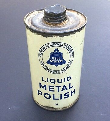 AT&T BELL SYSTEM vintage LIQUID METAL POLISH can w/ contents 1930's advertising